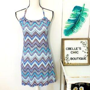 Prana Quinn Blue Chevron Dress Sz XS